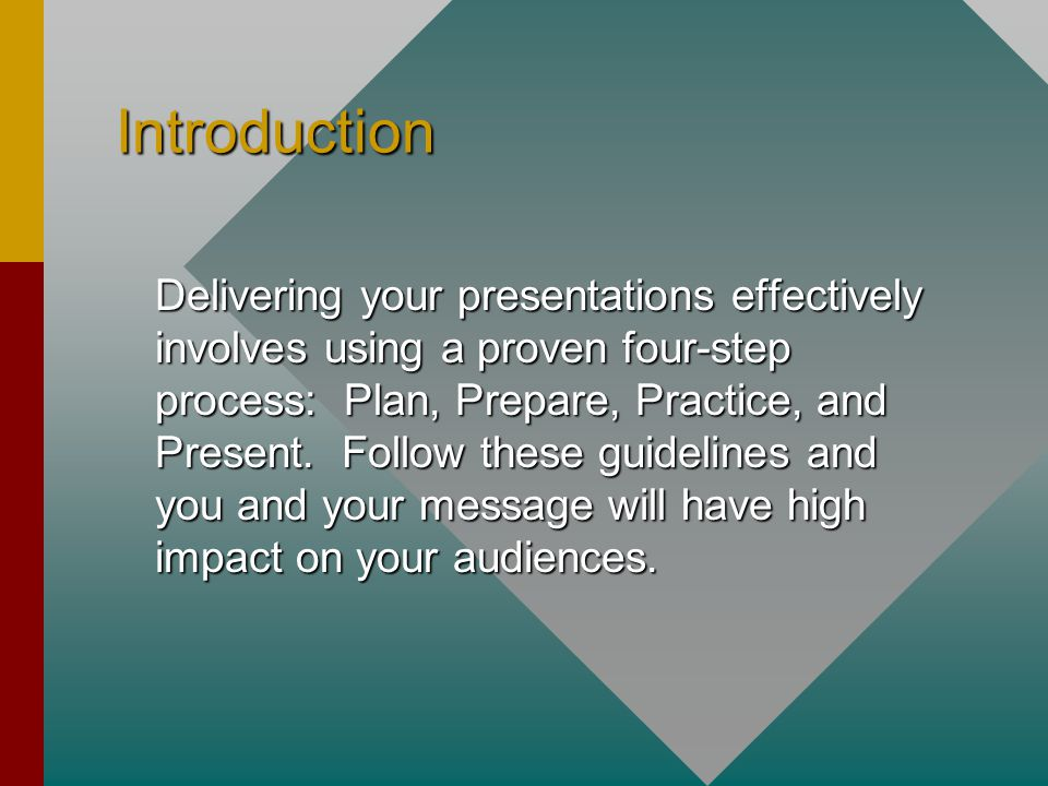 Introduction Delivering your presentations effectively involves using a proven four-step process: Plan, Prepare, Practice, and Present.