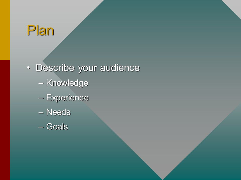 Plan Describe your audienceDescribe your audience –Knowledge –Experience –Needs –Goals