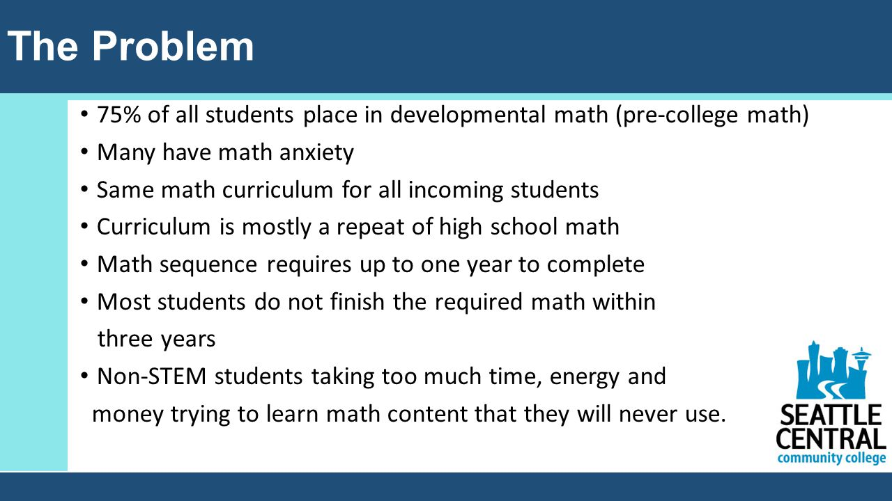 The Problem 75% of all students place in developmental math (pre-college math) Many have math anxiety Same math curriculum for all incoming students Curriculum is mostly a repeat of high school math Math sequence requires up to one year to complete Most students do not finish the required math within three years Non-STEM students taking too much time, energy and money trying to learn math content that they will never use.