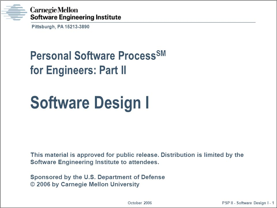 © 2006 by Carnegie Mellon UniversityOctober 2006PSP II - Software Design I - 32 Functional Template Class Exercise -1 For this exercise, as a class, we will produce a functional specification template for program 5.
