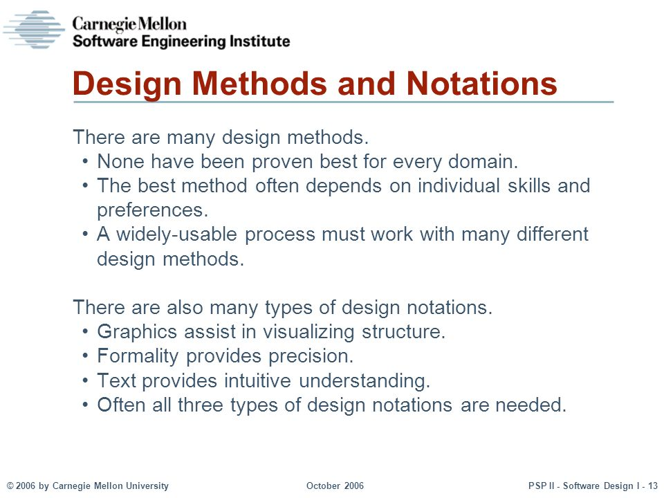 © 2006 by Carnegie Mellon UniversityOctober 2006PSP II - Software Design I - 13 Design Methods and Notations There are many design methods. None have