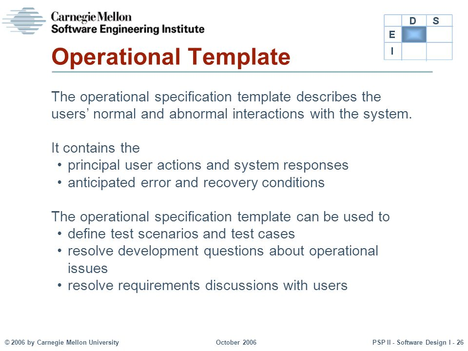 © 2006 by Carnegie Mellon UniversityOctober 2006PSP II - Software Design I - 26 Operational Template The operational specification template describes