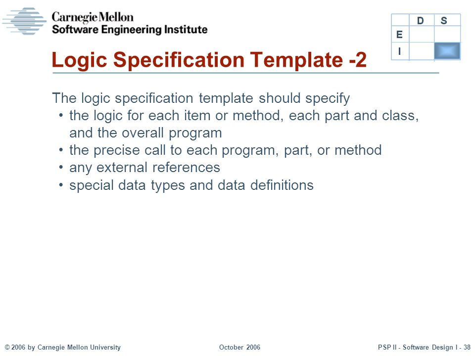 © 2006 by Carnegie Mellon UniversityOctober 2006PSP II - Software Design I - 38 Logic Specification Template -2 The logic specification template shoul