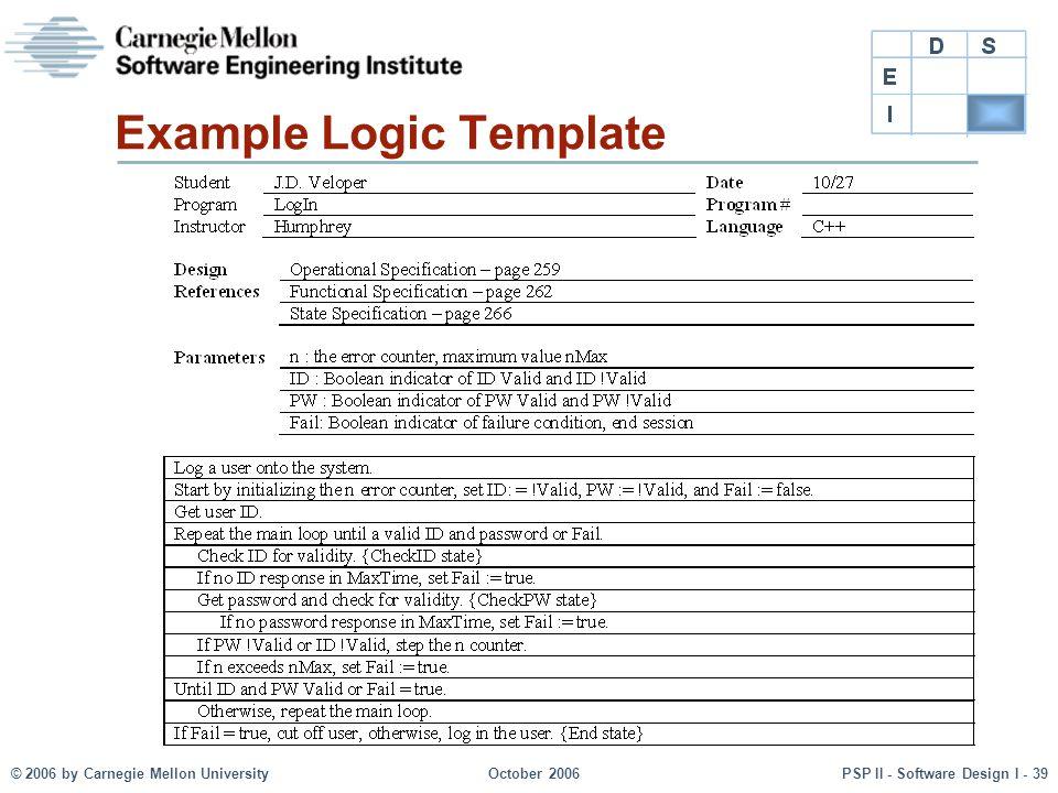 © 2006 by Carnegie Mellon UniversityOctober 2006PSP II - Software Design I - 39 Example Logic Template