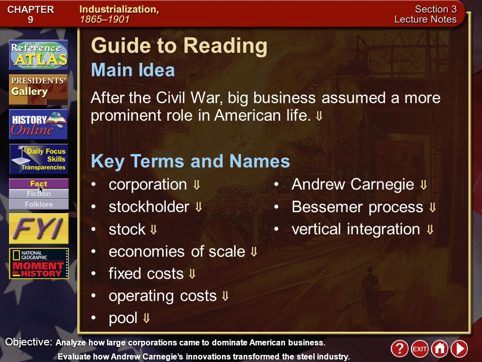 Intro 4 Chapter Objectives Section 3: Big Business Analyze how large corporations came to dominate American business.  Evaluate how Andrew Carnegie's