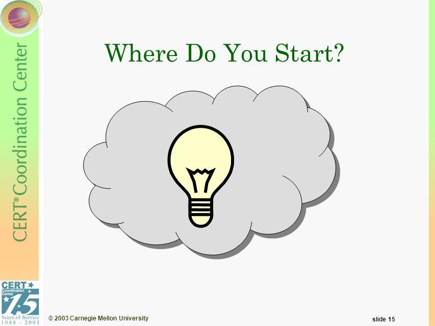 © 2003 Carnegie Mellon University slide 15 Where Do You Start