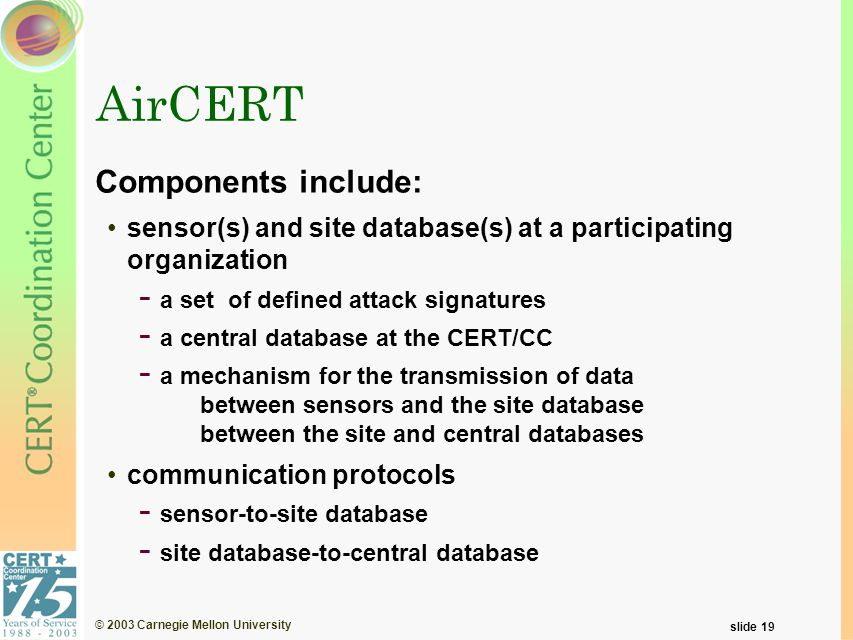 © 2003 Carnegie Mellon University slide 19 AirCERT Components include: sensor(s) and site database(s) at a participating organization - a set of defin