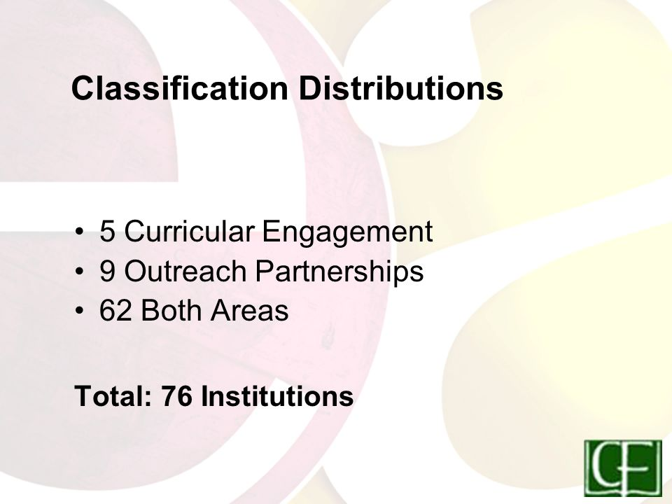 Classification Distributions 5 Curricular Engagement 9 Outreach Partnerships 62 Both Areas Total: 76 Institutions