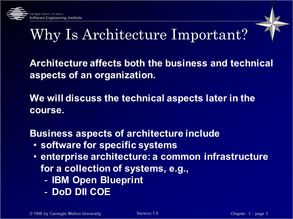 © 1998 by Carnegie Mellon University Carnegie Mellon University Software Engineering Institute Chapter 1 - page 3 Version 1.0 Why Is Architecture Important.