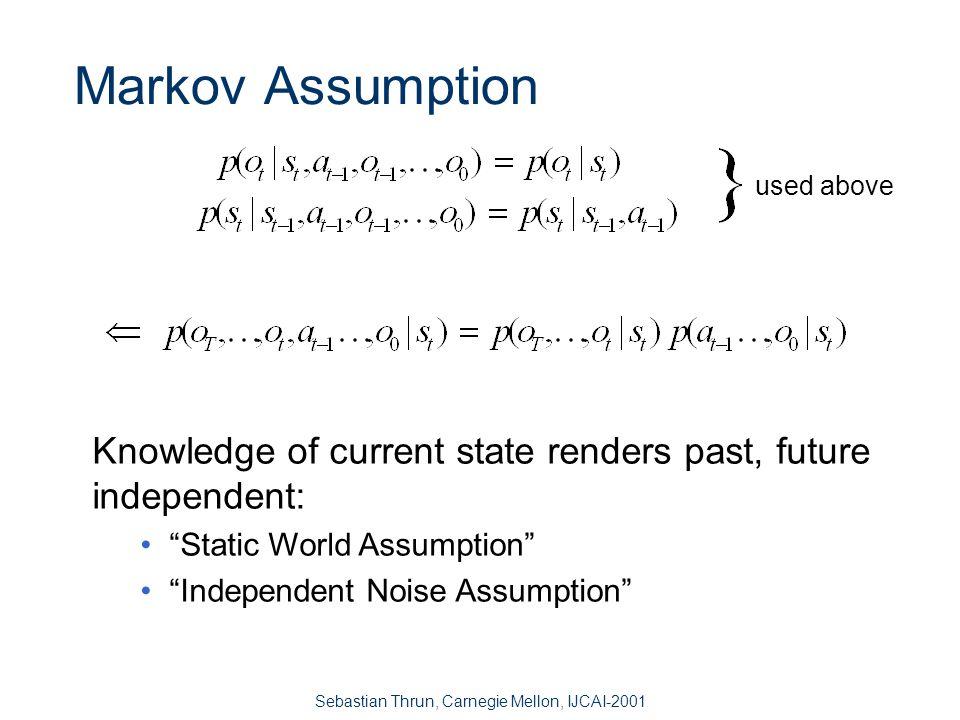 Sebastian Thrun, Carnegie Mellon, IJCAI-2001 Bayes Filters Bayes Markov [Kalman 60, Rabiner 85] d = data o = observation a = action t = time s = state Markov