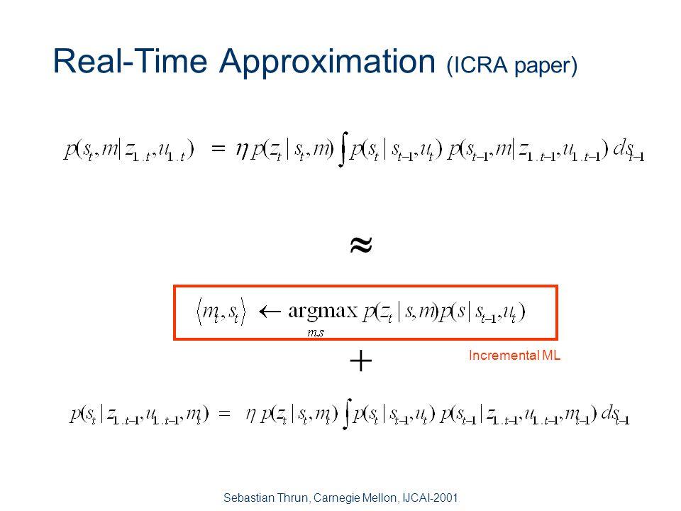 Sebastian Thrun, Carnegie Mellon, IJCAI-2001 The Goal EM: data association Not real-time Kalman filters: real-time No data association .