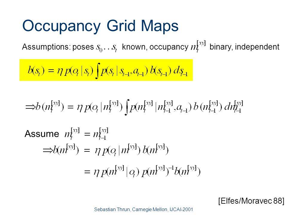 Sebastian Thrun, Carnegie Mellon, IJCAI-2001 Occupancy Grids: From scans to maps