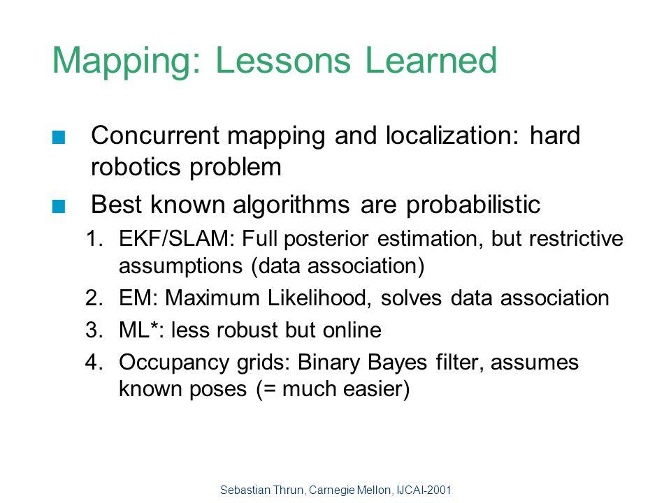 Sebastian Thrun, Carnegie Mellon, IJCAI-2001 Mapping Algorithms - Comparison SLAM (Kalman) EMML*Occupan.