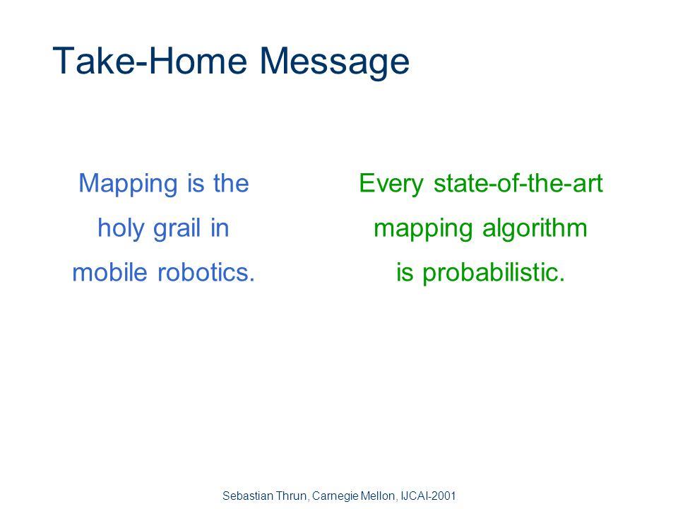 Sebastian Thrun, Carnegie Mellon, IJCAI-2001 Motivation SLAM (Kalman filters) Expectation Maximization Real Time Hybrid 3D Mapping with EM Open Problems