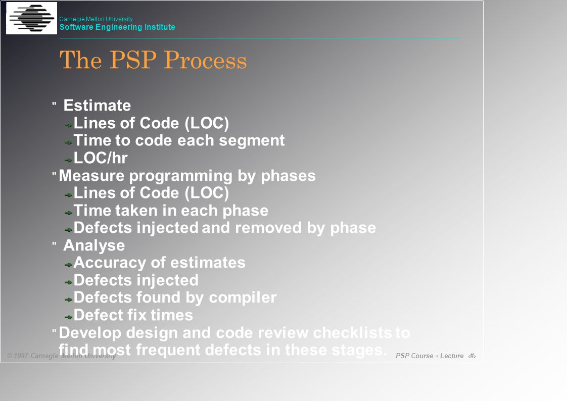 PSP Course - Lecture 11 © 1997 Carnegie Mellon University Carnegie Mellon University Software Engineering Institute Estimate Lines of Code (LOC) Time to code each segment LOC/hr Measure programming by phases Lines of Code (LOC) Time taken in each phase Defects injected and removed by phase Analyse Accuracy of estimates Defects injected Defects found by compiler Defect fix times Develop design and code review checklists to find most frequent defects in these stages.