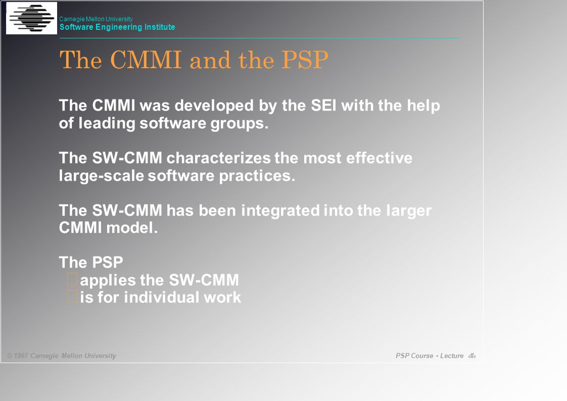 PSP Course - Lecture 6 © 1997 Carnegie Mellon University Carnegie Mellon University Software Engineering Institute SW-CMM