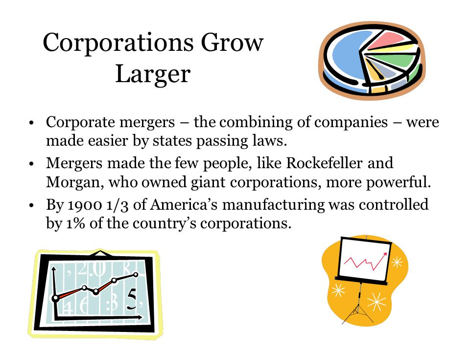 Corporations Grow Larger Corporate mergers – the combining of companies – were made easier by states passing laws. Mergers made the few people, like R