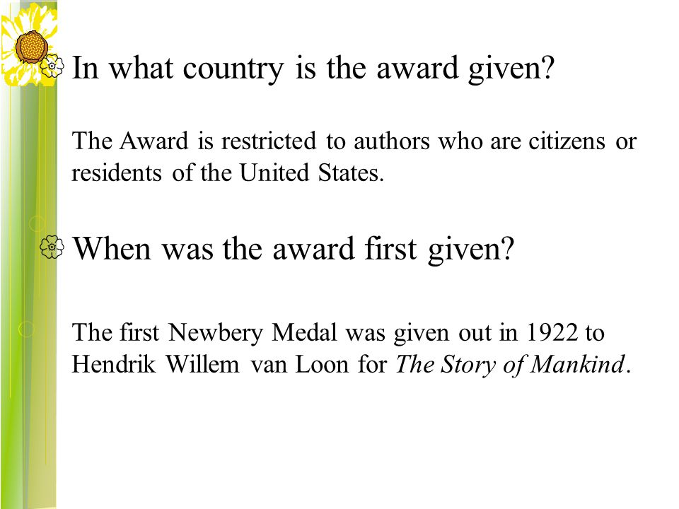  In what country is the award given.