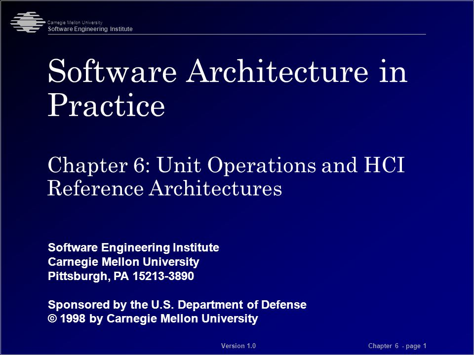 © 1998 by Carnegie Mellon University Carnegie Mellon University Software Engineering Institute Chapter 6 - page 12 Version 1.0 Monolithic Reference Architecture Presentation Dialogue Application