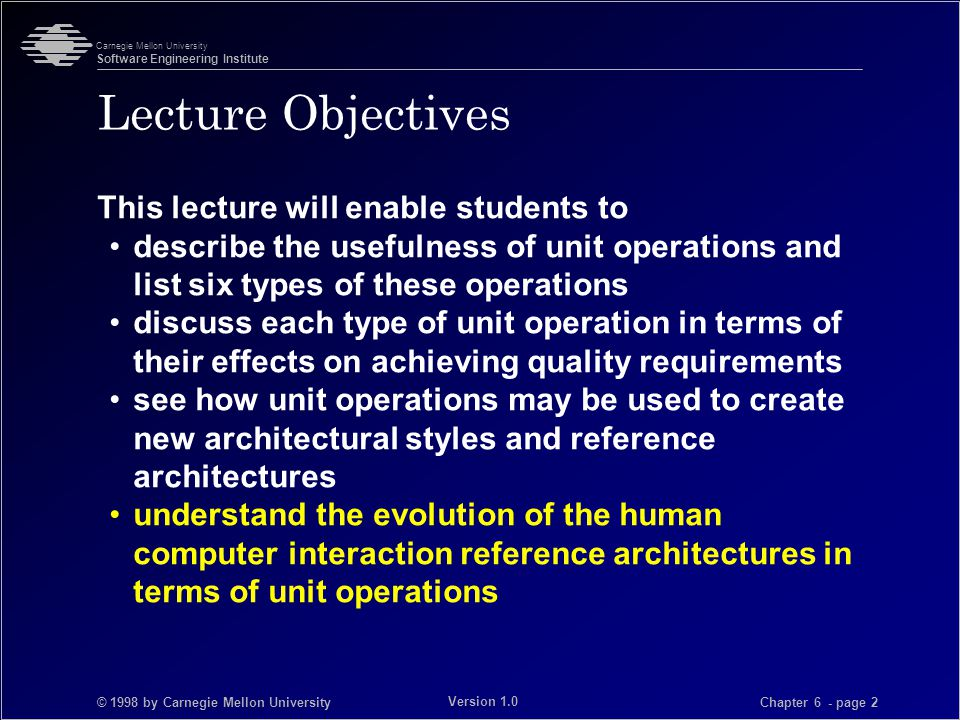 © 1998 by Carnegie Mellon University Carnegie Mellon University Software Engineering Institute Chapter 6 - page 3 Version 1.0 Unit Operations A unit operation is a codification of design operations that can be applied directly to an architecture.