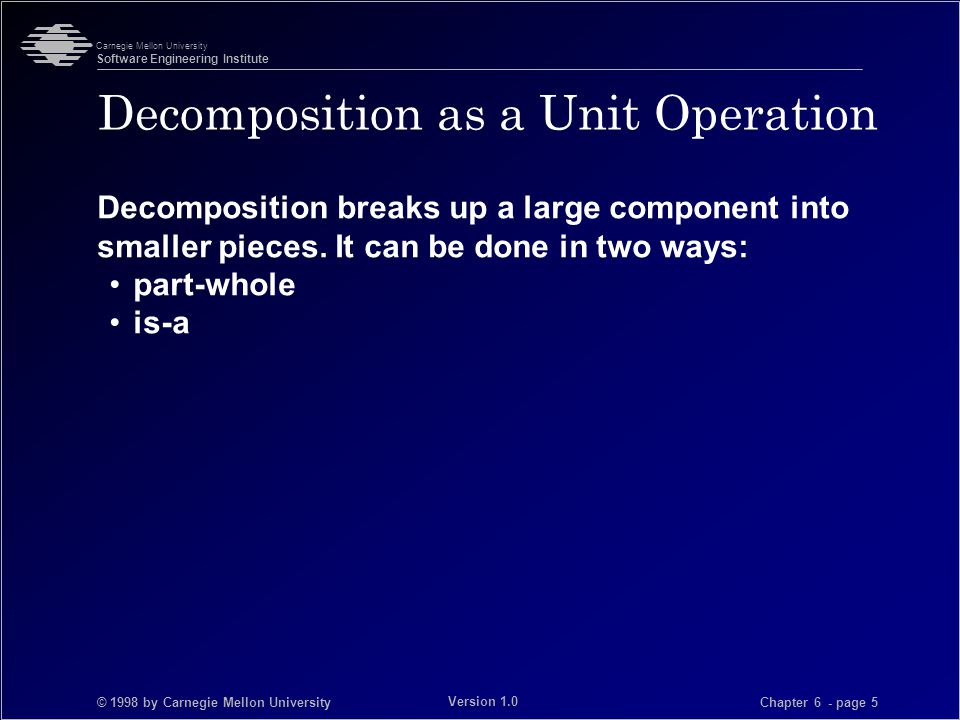 © 1998 by Carnegie Mellon University Carnegie Mellon University Software Engineering Institute Chapter 6 - page 36 Version 1.0 Lecture Summary -2 Unit operations are used in cases where existing styles are not appropriate.