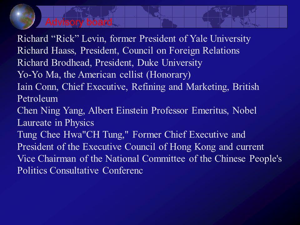 "Richard ""Rick"" Levin, former President of Yale University Richard Haass, President, Council on Foreign Relations Richard Brodhead, President, Duke Uni"