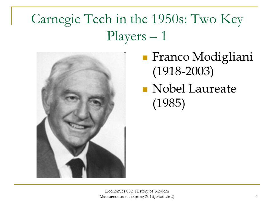 Economics 882 History of Modern Macroeconomics (Spring 2013, Module 2) 5 Carnegie Tech in the 1950s: Two Key Players – 2 John F.