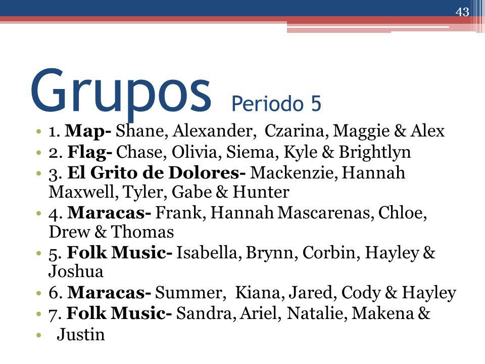 Grupos Periodo 5 1. Map- Shane, Alexander, Czarina, Maggie & Alex 2. Flag- Chase, Olivia, Siema, Kyle & Brightlyn 3. El Grito de Dolores- Mackenzie, H