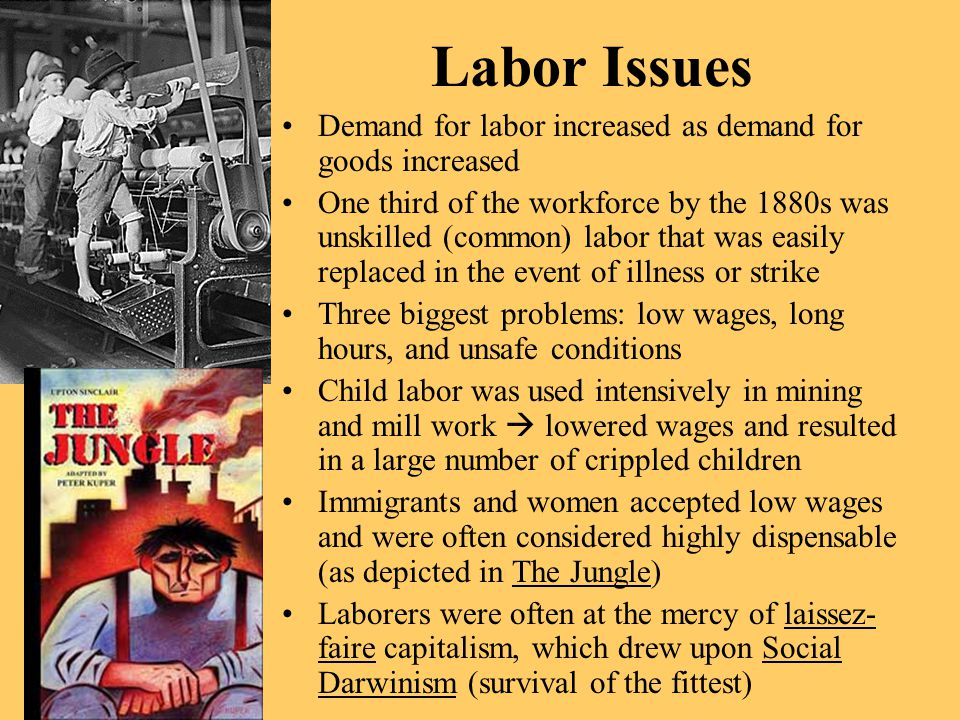 Labor Issues Demand for labor increased as demand for goods increased One third of the workforce by the 1880s was unskilled (common) labor that was ea