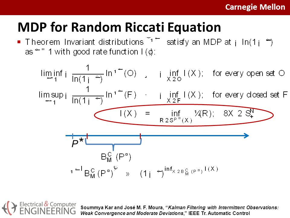 Carnegie Mellon MDP for Random Riccati Equation  P*P* Soummya Kar and José M.