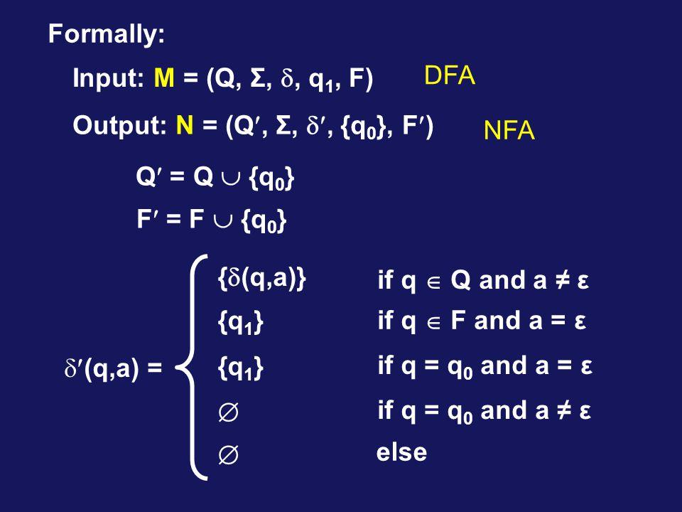 Formally: Input: M = (Q, Σ, , q 1, F) Output: N = (Q, Σ, , {q 0 }, F) Q = Q  {q 0 } F = F  {q 0 }  (q,a) = {  (q,a)} {q 1 }  if q  Q and a ≠ ε if q  F and a = ε if q = q 0 and a = ε if q = q 0 and a ≠ ε  else DFA NFA
