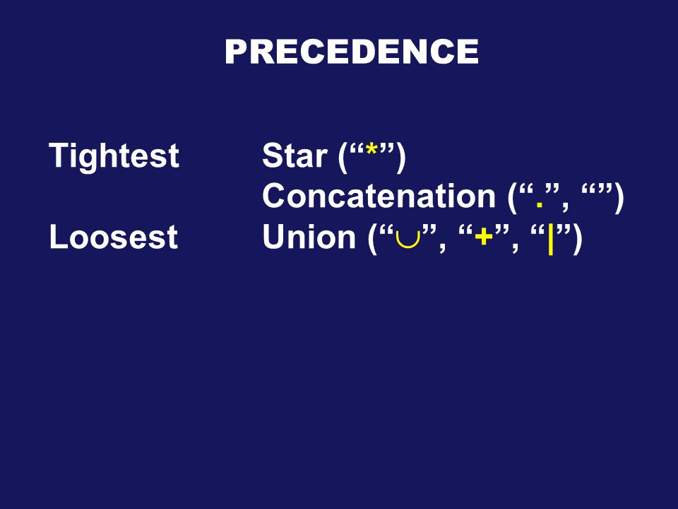 PRECEDENCE Tightest Star ( * ) Concatenation ( . , ) LoosestUnion (  , + , | )