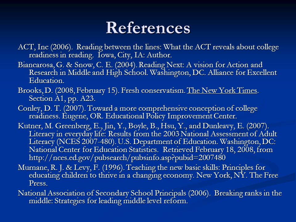 References ACT, Inc (2006).