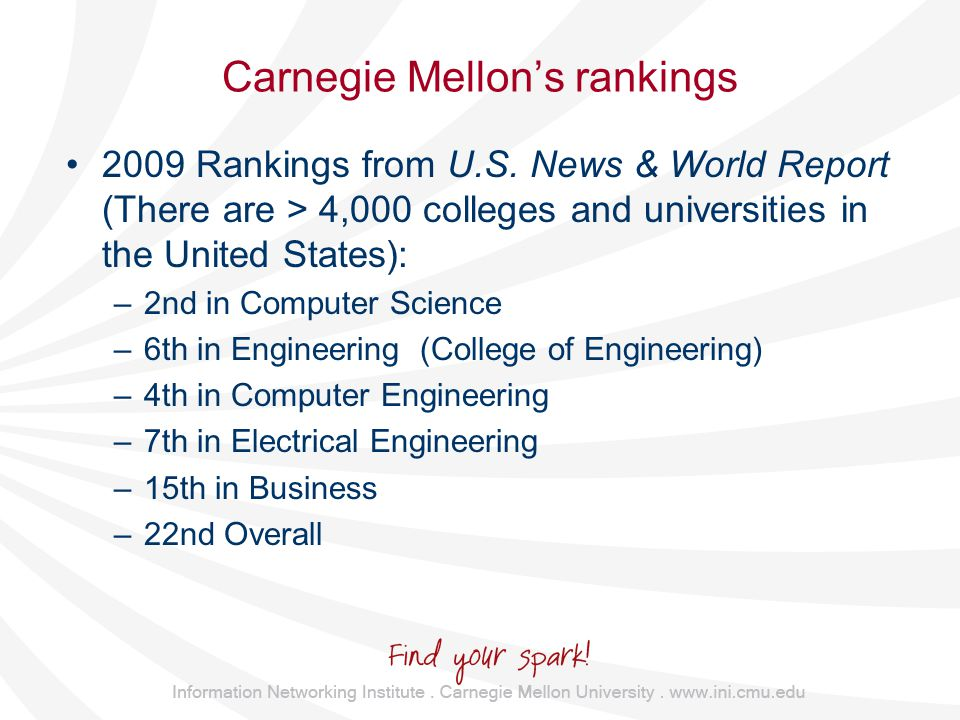 Carnegie Mellon's rankings 2009 Rankings from U.S.