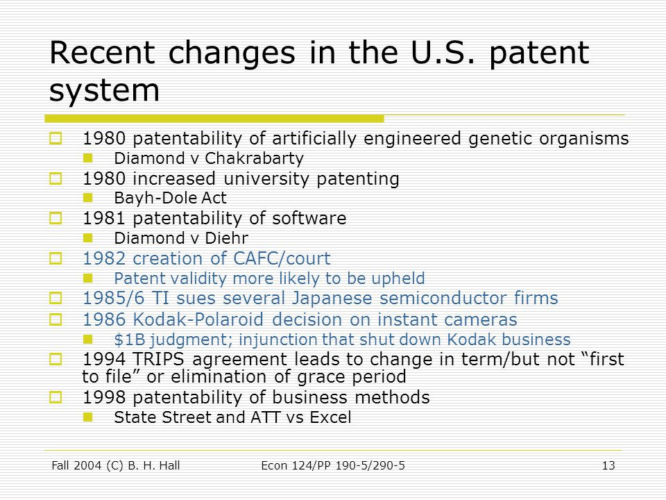 Fall 2004 (C) B. H. HallEcon 124/PP 190-5/290-513 Recent changes in the U.S.