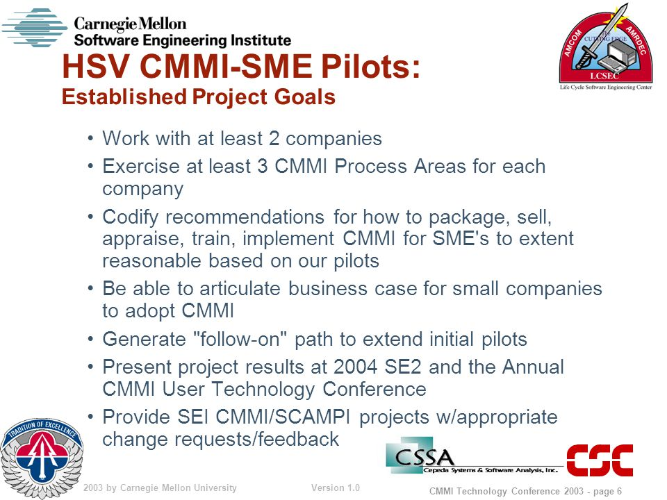 © 2003 by Carnegie Mellon University Version 1.0 CMMI Technology Conference 2003 - page 6 HSV CMMI-SME Pilots: Established Project Goals Work with at least 2 companies Exercise at least 3 CMMI Process Areas for each company Codify recommendations for how to package, sell, appraise, train, implement CMMI for SME s to extent reasonable based on our pilots Be able to articulate business case for small companies to adopt CMMI Generate follow-on path to extend initial pilots Present project results at 2004 SE2 and the Annual CMMI User Technology Conference Provide SEI CMMI/SCAMPI projects w/appropriate change requests/feedback