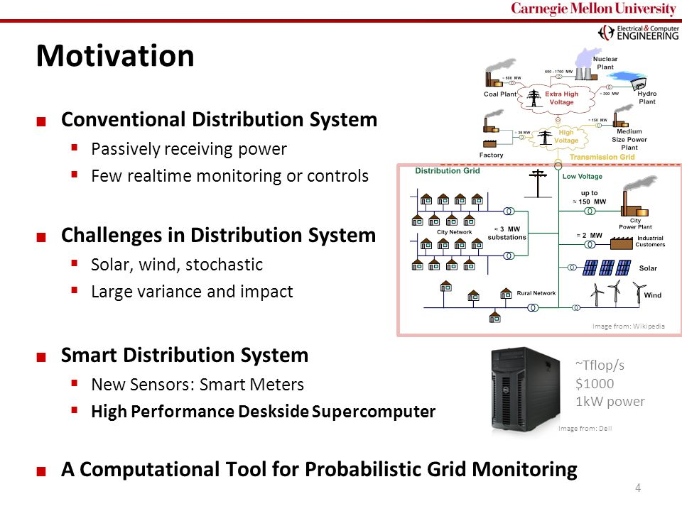 Carnegie Mellon 4 Conventional Distribution System  Passively receiving power  Few realtime monitoring or controls Challenges in Distribution System  Solar, wind, stochastic  Large variance and impact Smart Distribution System  New Sensors: Smart Meters  High Performance Deskside Supercomputer A Computational Tool for Probabilistic Grid Monitoring Motivation Image from: Wikipedia ~Tflop/s $1000 1kW power Image from: Dell