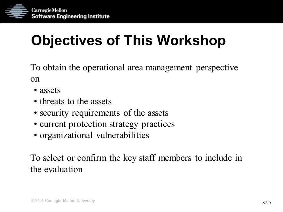 S2-6 © 2001 Carnegie Mellon University Role of Analysis Team To guide the activities and discussion of this workshop