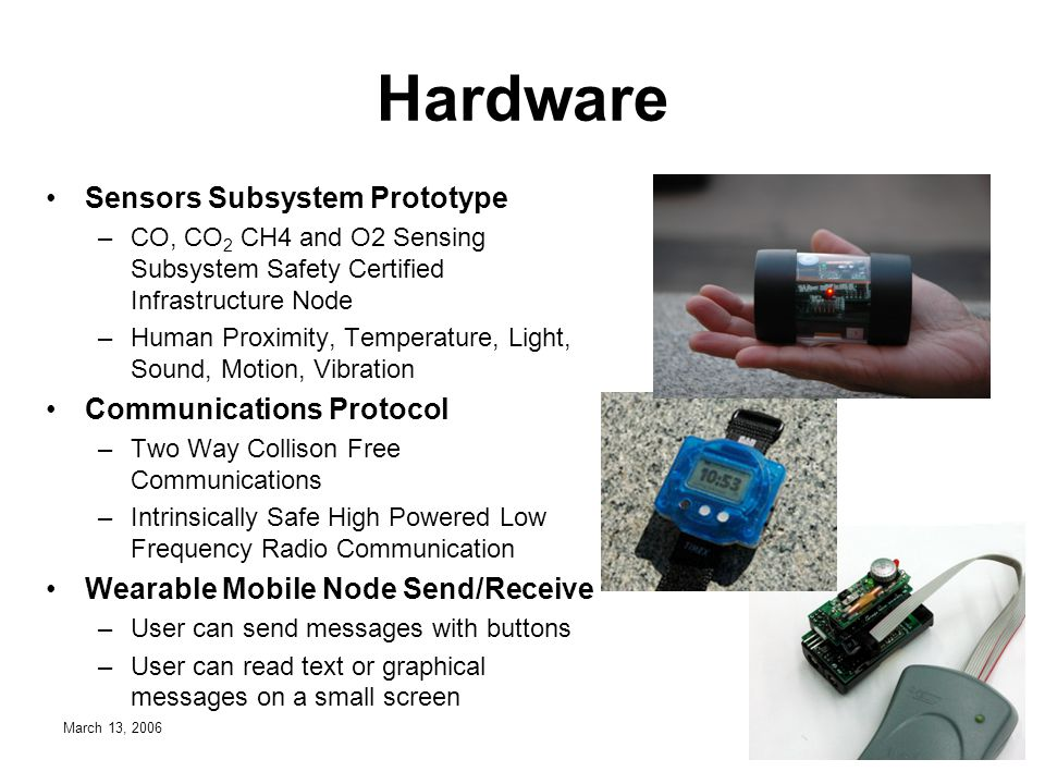 March 13, 2006 Hardware Sensors Subsystem Prototype –CO, CO 2 CH4 and O2 Sensing Subsystem Safety Certified Infrastructure Node –Human Proximity, Temperature, Light, Sound, Motion, Vibration Communications Protocol –Two Way Collison Free Communications –Intrinsically Safe High Powered Low Frequency Radio Communication Wearable Mobile Node Send/Receive –User can send messages with buttons –User can read text or graphical messages on a small screen