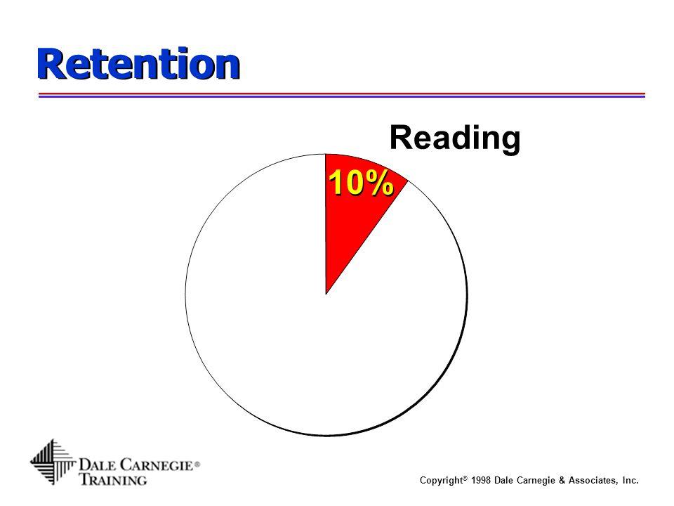 Copyright © 1998 Dale Carnegie & Associates, Inc. Retention 10% Reading