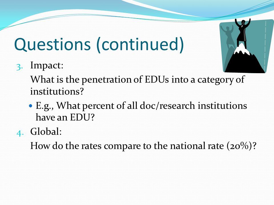 Questions (continued) 3.Impact: What is the penetration of EDUs into a category of institutions.