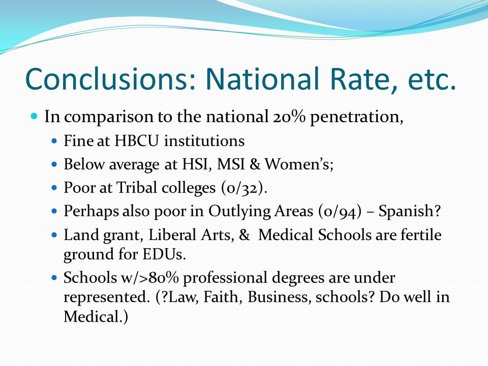 Conclusions: National Rate, etc.
