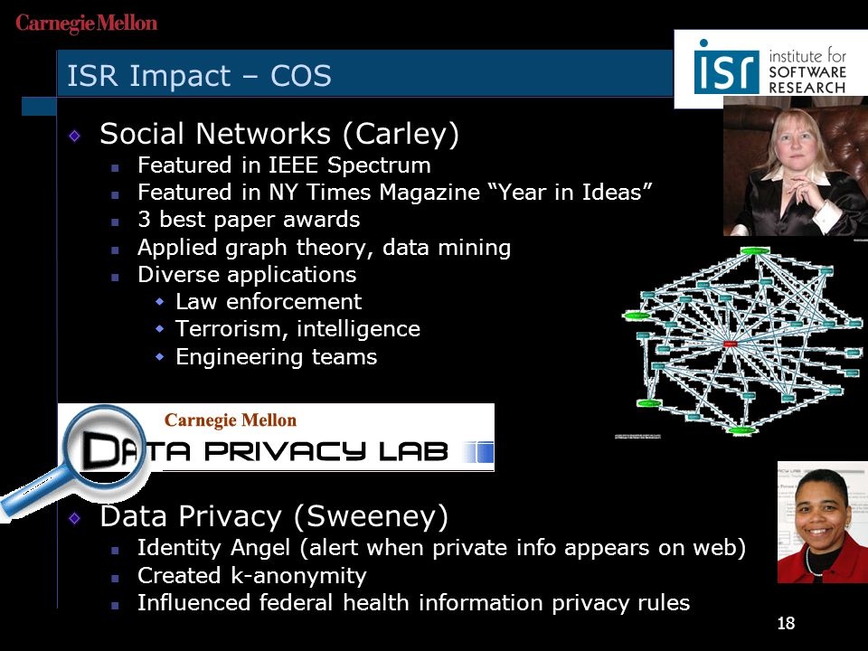18 ISR Impact – COS Social Networks (Carley) Featured in IEEE Spectrum Featured in NY Times Magazine Year in Ideas 3 best paper awards Applied graph theory, data mining Diverse applications  Law enforcement  Terrorism, intelligence  Engineering teams Data Privacy (Sweeney) Identity Angel (alert when private info appears on web) Created k-anonymity Influenced federal health information privacy rules