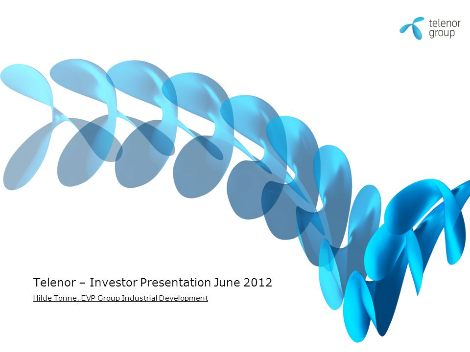 Telenor – Investor Presentation June 2012 Hilde Tonne, EVP Group Industrial Development