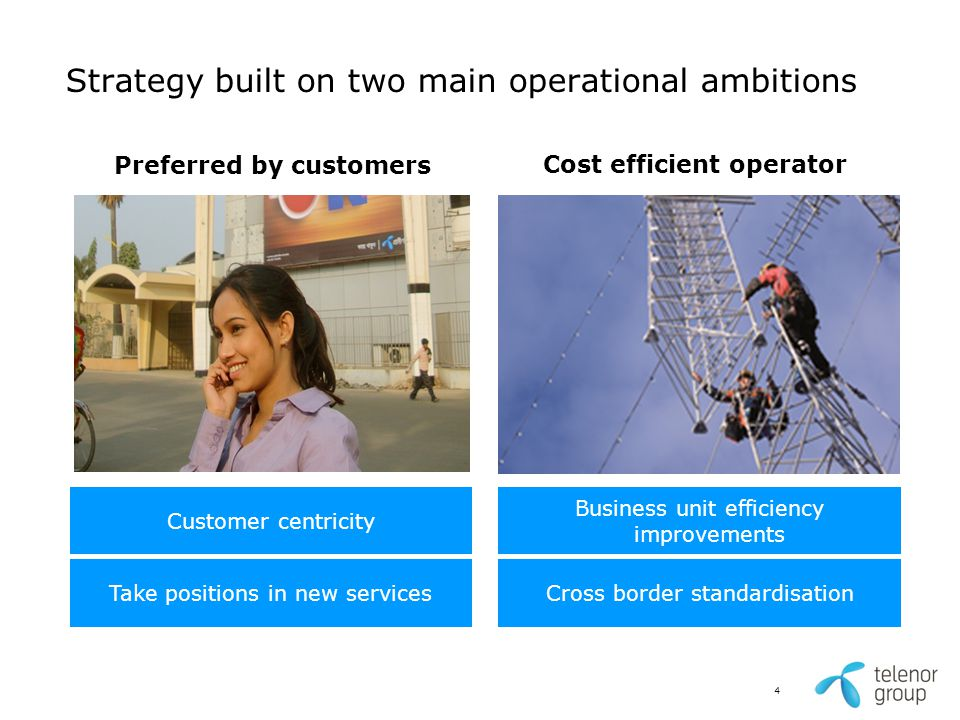 Strategy built on two main operational ambitions Cost efficient operator Preferred by customers Take positions in new servicesCross border standardisa