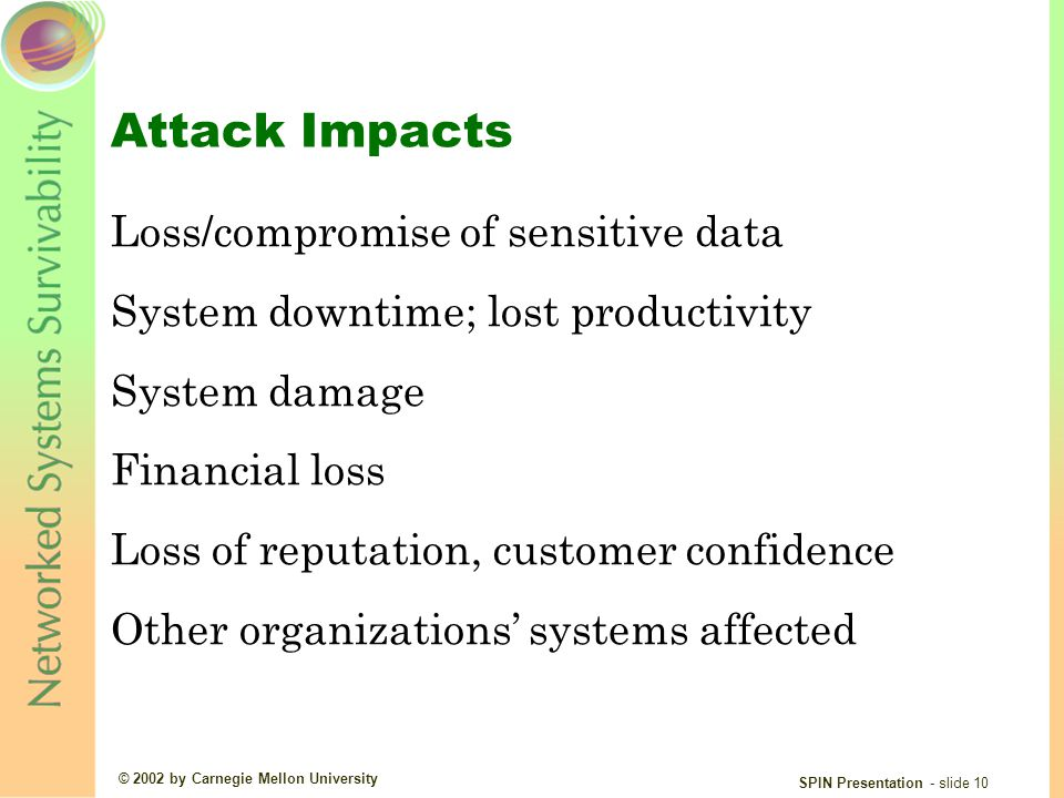 © 2002 by Carnegie Mellon University SPIN Presentation - slide 10 Attack Impacts Loss/compromise of sensitive data System downtime; lost productivity System damage Financial loss Loss of reputation, customer confidence Other organizations' systems affected