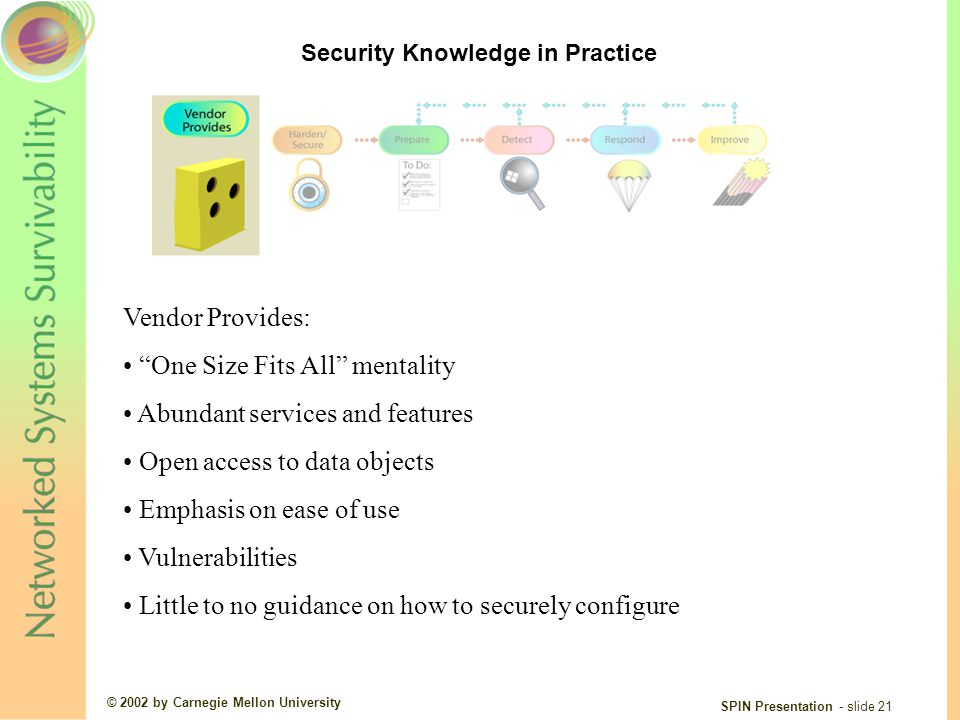 © 2002 by Carnegie Mellon University SPIN Presentation - slide 21 Vendor Provides: One Size Fits All mentality Abundant services and features Open access to data objects Emphasis on ease of use Vulnerabilities Little to no guidance on how to securely configure Security Knowledge in Practice