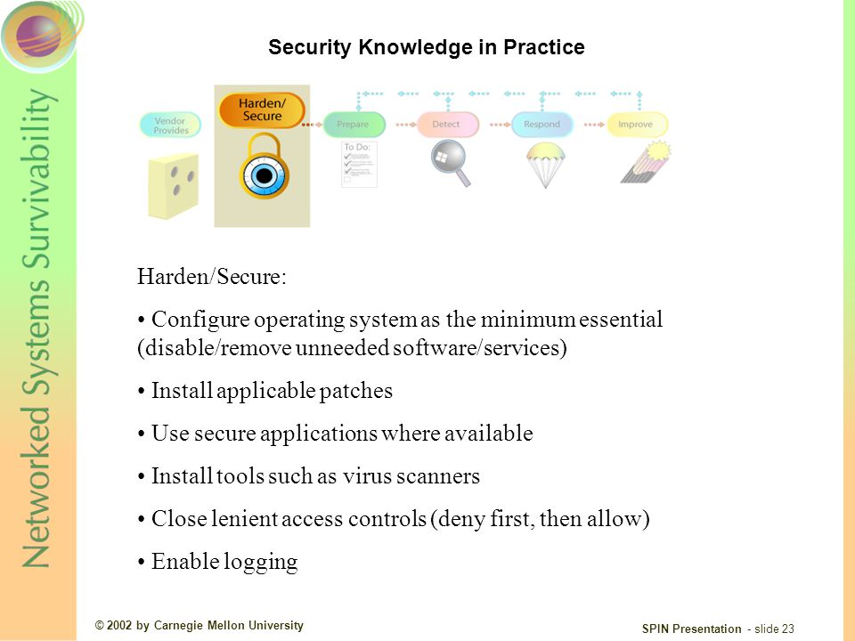 © 2002 by Carnegie Mellon University SPIN Presentation - slide 23 Harden/Secure: Configure operating system as the minimum essential (disable/remove unneeded software/services) Install applicable patches Use secure applications where available Install tools such as virus scanners Close lenient access controls (deny first, then allow) Enable logging Security Knowledge in Practice