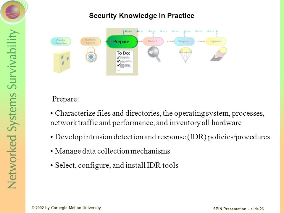 © 2002 by Carnegie Mellon University SPIN Presentation - slide 26 Prepare: Characterize files and directories, the operating system, processes, network traffic and performance, and inventory all hardware Develop intrusion detection and response (IDR) policies/procedures Manage data collection mechanisms Select, configure, and install IDR tools Security Knowledge in Practice