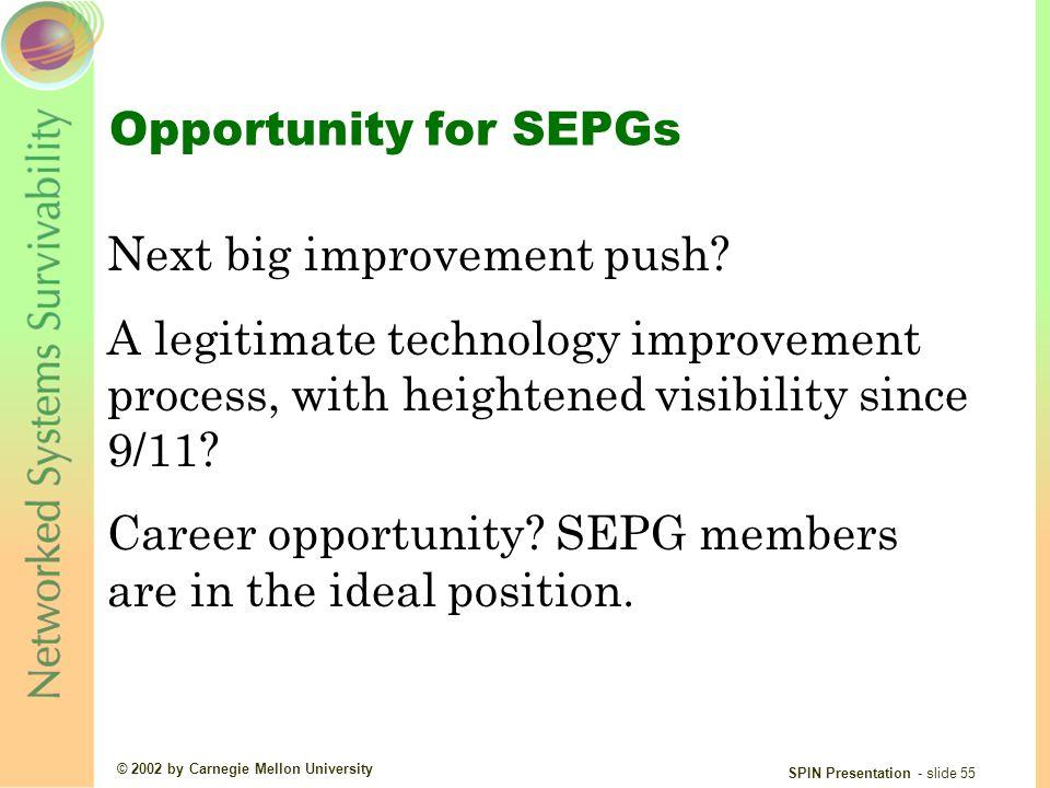 © 2002 by Carnegie Mellon University SPIN Presentation - slide 55 Opportunity for SEPGs Next big improvement push.